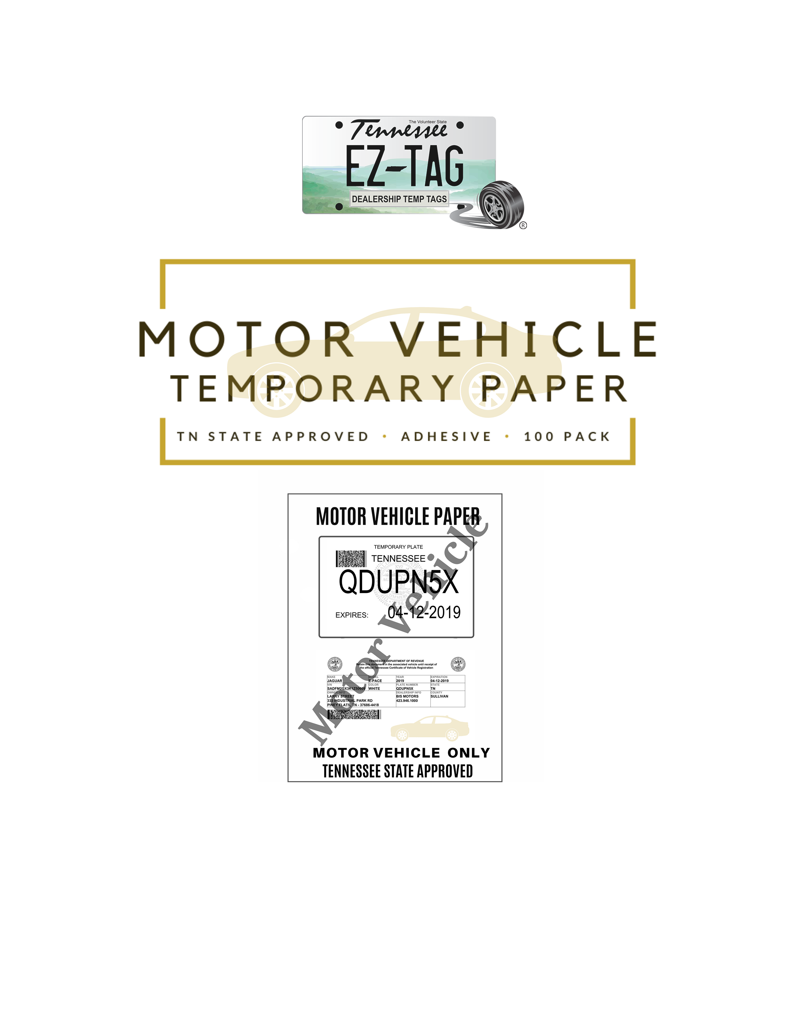 EZ Tag Motor Vehicle Temporary Tag Sticker Paper (100 Pack)